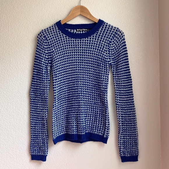 Planet Gold Sweaters - Blue and White Knit Sweater by Planet Gold